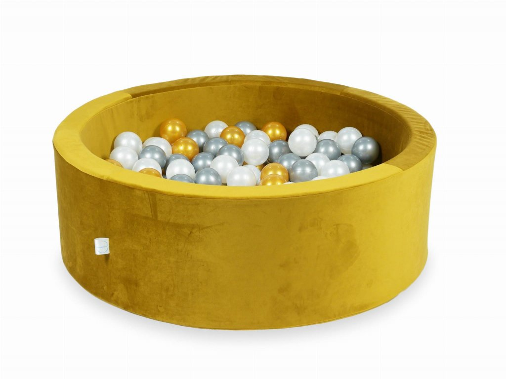 90x30mimii suchy basen 90x30 velvet zloty 200 pilek zlote srebrne perlowe ve027