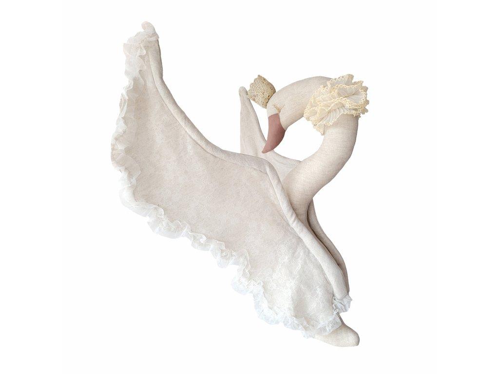 Lněná labuť s korunkou s béžovou krajkou