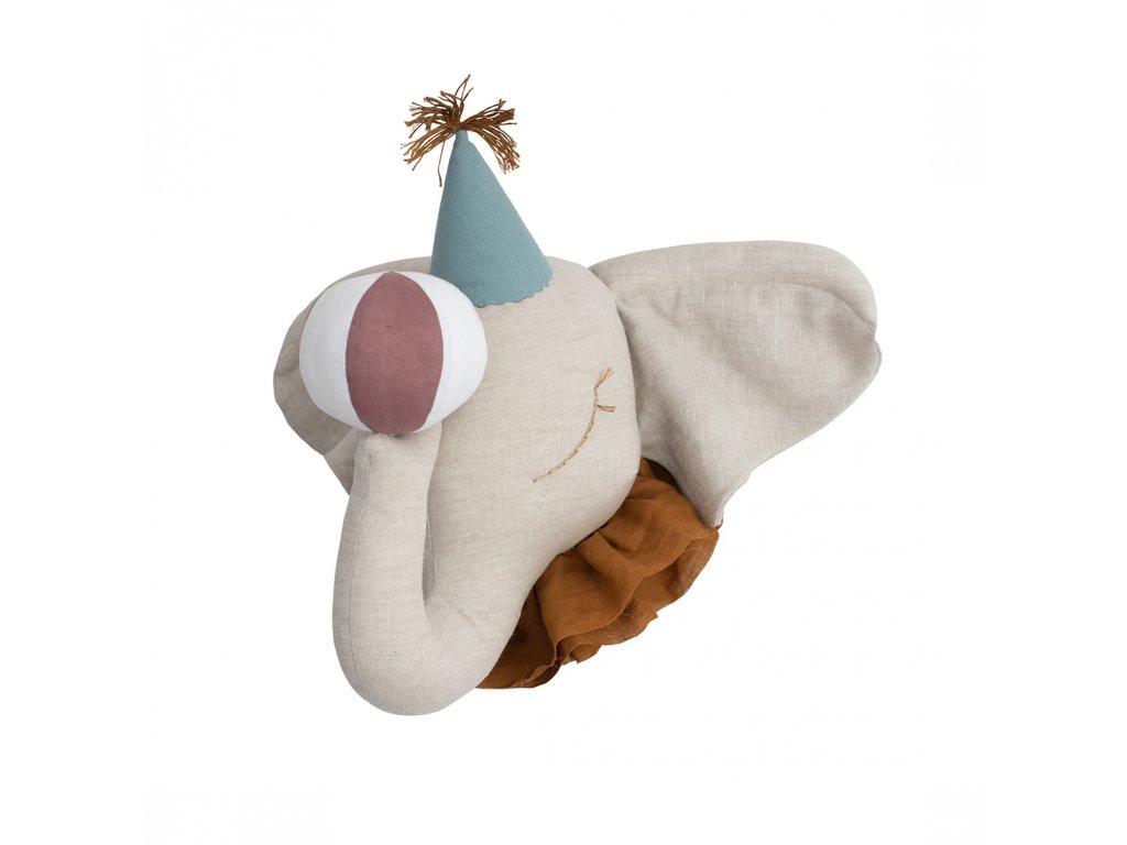 Cirkusový slon s tyrkysovou čepičkou