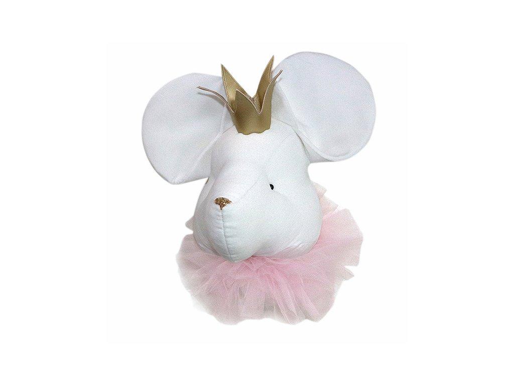 nástěnná myš bílá se zlatou korunkou