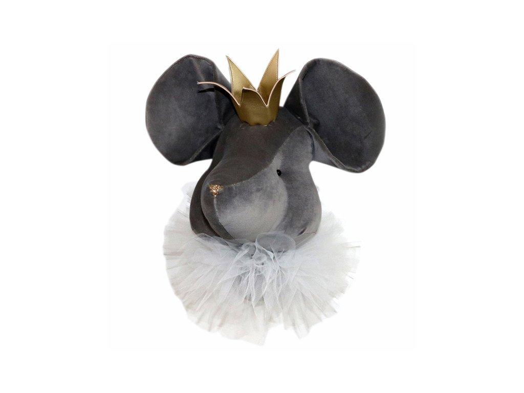 nástěnná myš šedá se zlatou korunkou