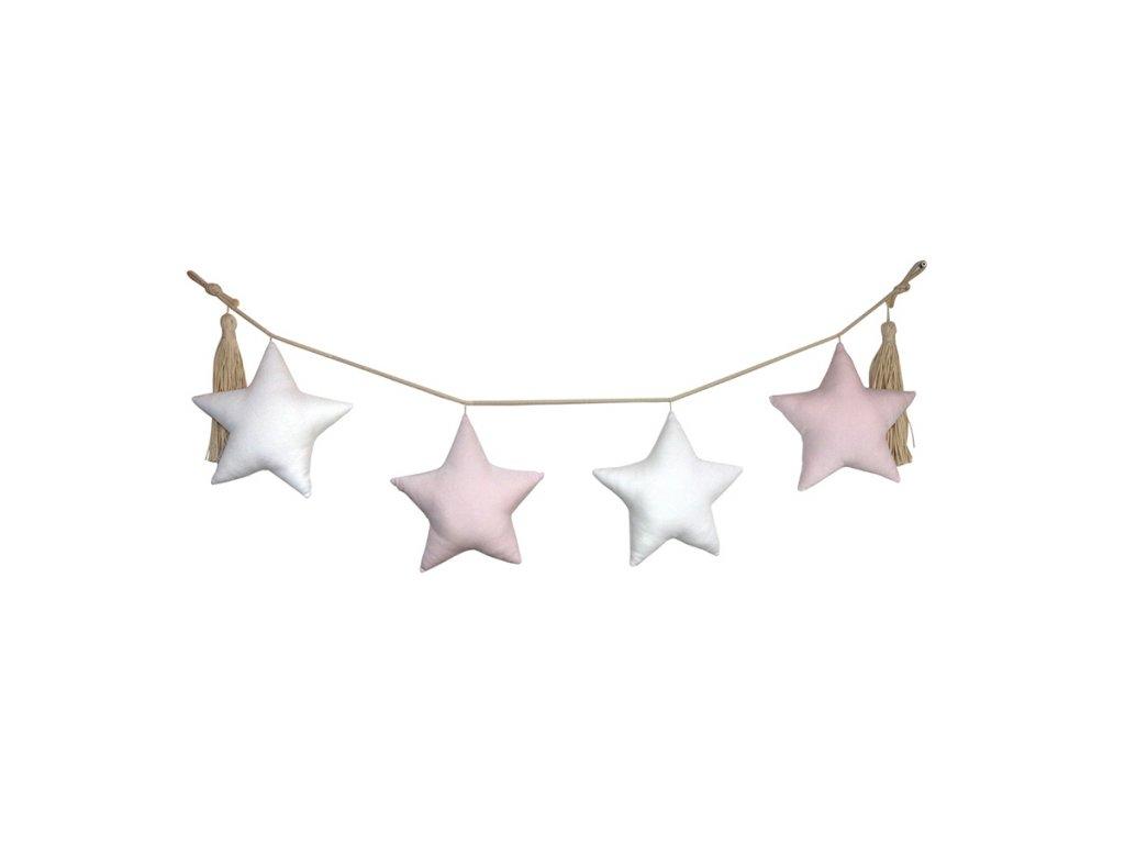 girlanda hvězdy bílá a růžová