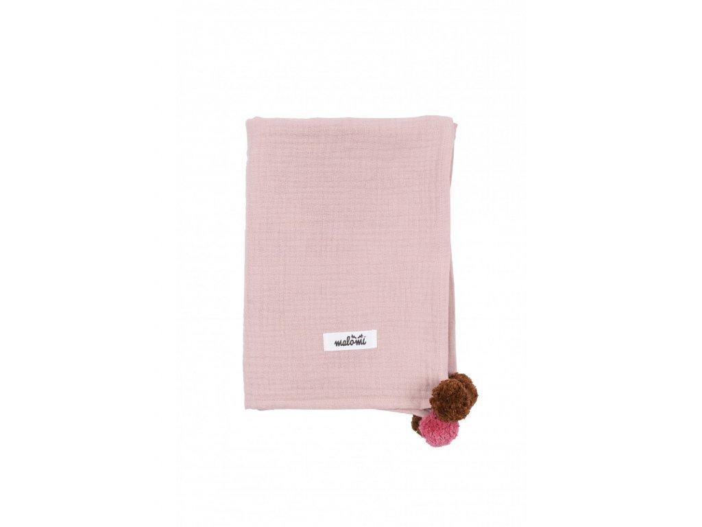 otulacz muslin pompony dusty pink