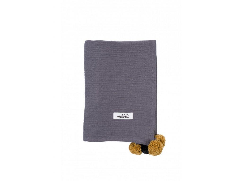otulacz muslin pompony grey
