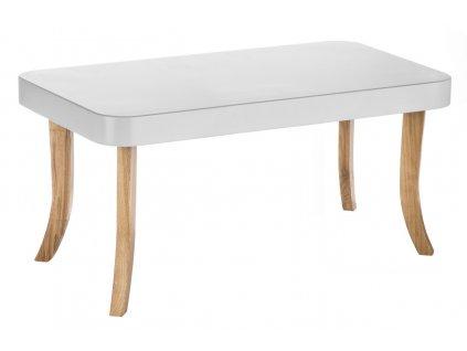 Dětský stolek hranatý velký (Barva desky Bílá, Barva nohou Přírodní - dub)