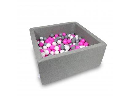 Suchý bazének + 400 ks kuliček hranatý, tmavě šedý (Rozměr 90x90x40 cm)