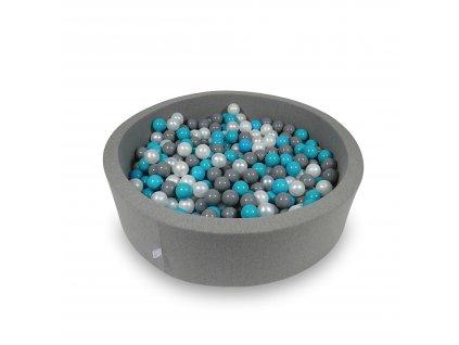 Suchý bazének + 400 ks kuliček kulatý, tmavě šedý (Rozměr 90x40 cm)