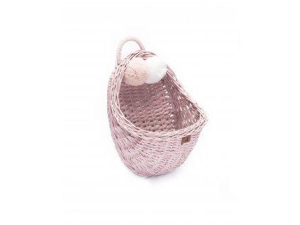 Proutěný košík nástěnný pudrově růžová, 29 x 29 cm