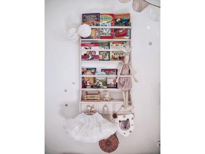 Knihovna BabyDeco pudrová růžová malá, 80 x 60 cm