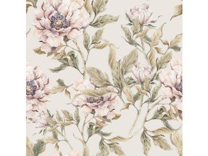 Peonies beige wallpaper 001