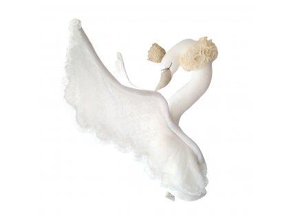 Lněná labuť s korunkou se smetanovou krajkou