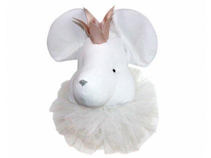 nástěnná myš bílá s perleťovou korunkou
