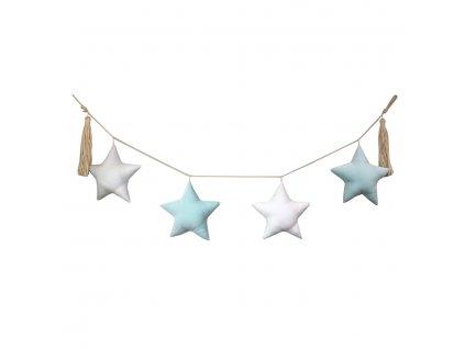 girlanda hvězdy mátová a bílá