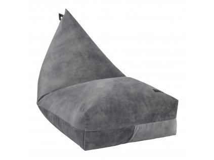 grey velvet beanbag