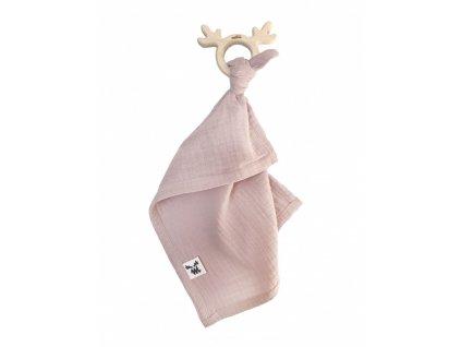 teethermuslin cuddly toy dusty pink
