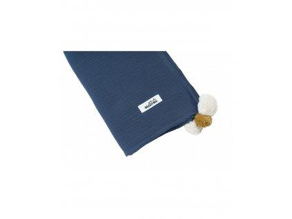 otulacz muslin pompony dark blue (1)