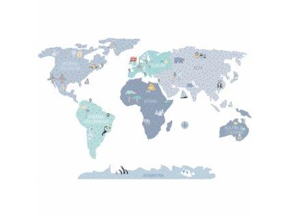 mapa swiata niebieska naklejka. naklejka dla dzieci. dekoracje pokoju