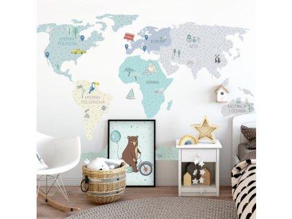mapa swiata mietowa naklejka. naklejka dla dzieci. dekoracje pokoju (1)
