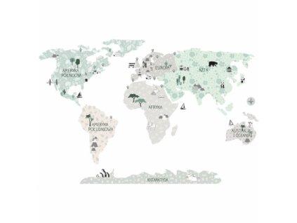 mapa swiata tropic sand naklejka. naklejka dla dzieci. dekoracje pokoju