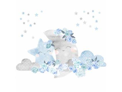 ksiezyc niebieski naklejka. naklejka dla dzieci. dekoracje pokoju
