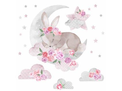 spiacy krolik rozowy naklejka. naklejka dla dzieci. dekoracje pokoju