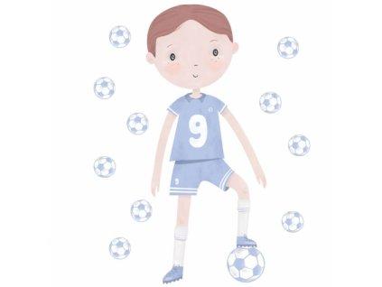 pilkarz niebieski naklejka. naklejka dla dzieci. dekoracje pokoju