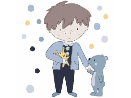 teddy niebieski naklejka. naklejka dla dzieci. dekoracje pokoju