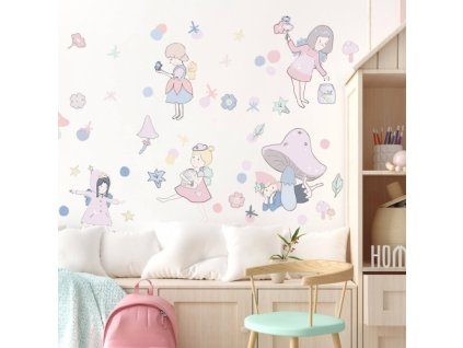 wrozki rozowe naklejka. naklejka dla dzieci. dekoracje pokoju (1)