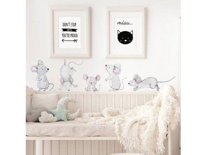 myszki naklejka. naklejka dla dzieci. dekoracje pokoju (1)