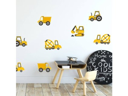 pojazdy budowlane zolte naklejka. naklejka dla dzieci. dekoracje pokoju (1)