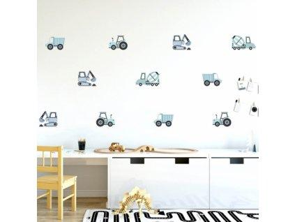 pojazdy budowlane niebieskie naklejka. naklejka dla dzieci. dekoracje pokoju (1)