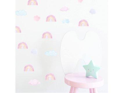 mini tecze rozowe naklejka. naklejka dla dzieci. dekoracje pokoju (2)