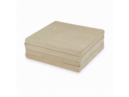 mimii mata do zabawy kwadratowa skladana 120x120cm velvet soft bezowy mk014 1