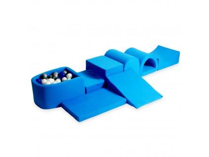tp112 mimii piankowy plac zabaw najwiekszy tor z basenem micro dzianina niebieski niebieski srebrny bialy 100 pilek
