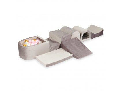 tp154 mimii piankowy plac zabaw najwiekszy tor z basenem micro velvet lila zlote jasny roz perla 100 pilek