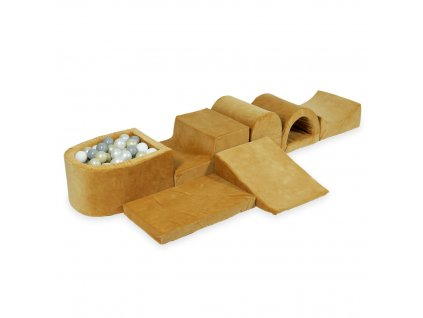 tp280 mimii piankowy plac zabaw najwiekszy tor z basenem micro velvet soft carmel przezroczyste biale perla szare jasne zloto 100 pilek