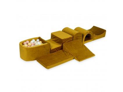 tp175 mimii piankowy plac zabaw najwiekszy tor z basenem micro velvet zloty jasny zloty bezowy perla rozowe zloto 100 pilek
