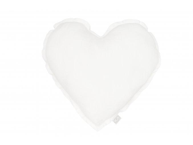 Polštář lněný Srdce bílé