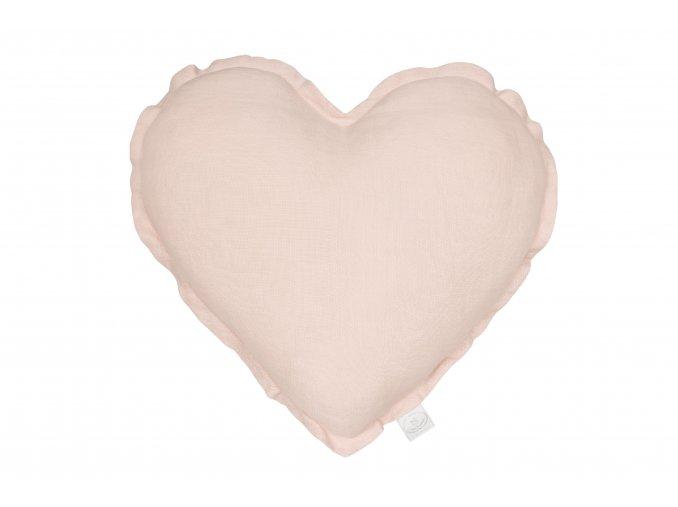 Polštář lněný Srdce pudrová růžová