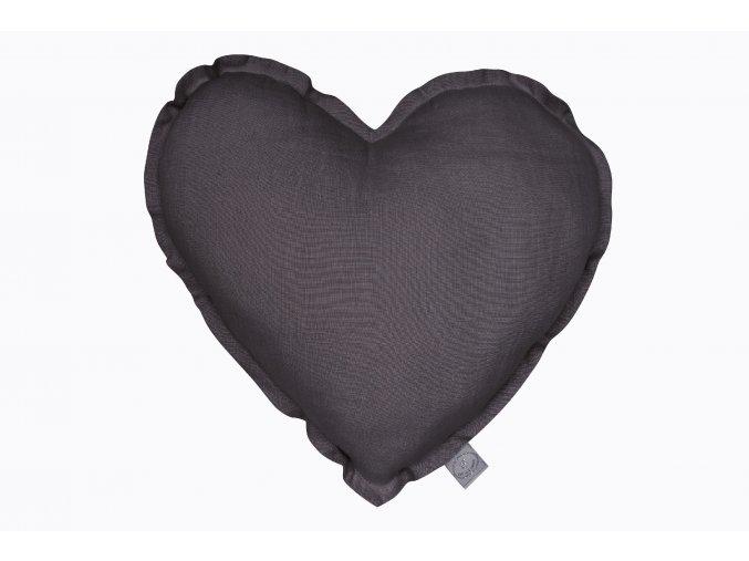 Polštář lněný Srdce grafit