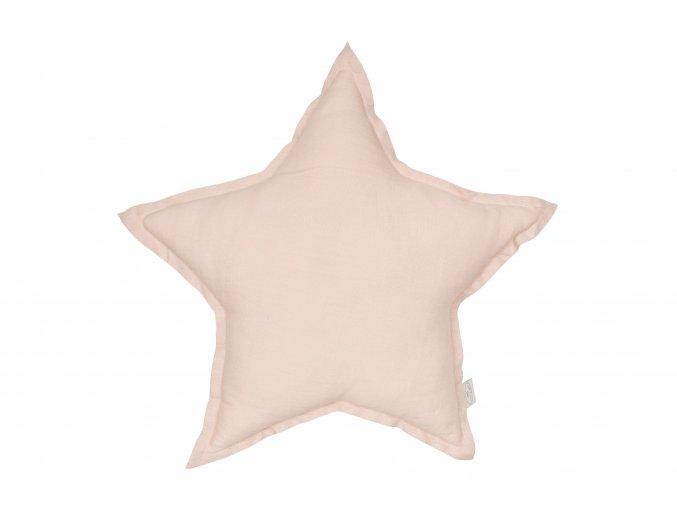 Polštář lněný Hvězda pudrová růžová