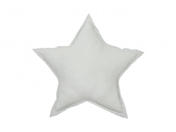 Polštář lněný Hvězda světle šedá