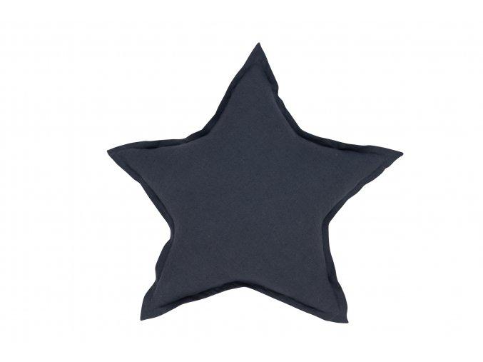 Polštář lněný Hvězda grafit