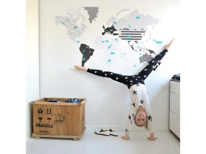 Samolepka na zed Mapa sveta cerno bila