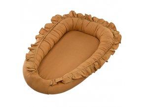 Hnízdo pro miminko lněné s kanýrem hořčicová