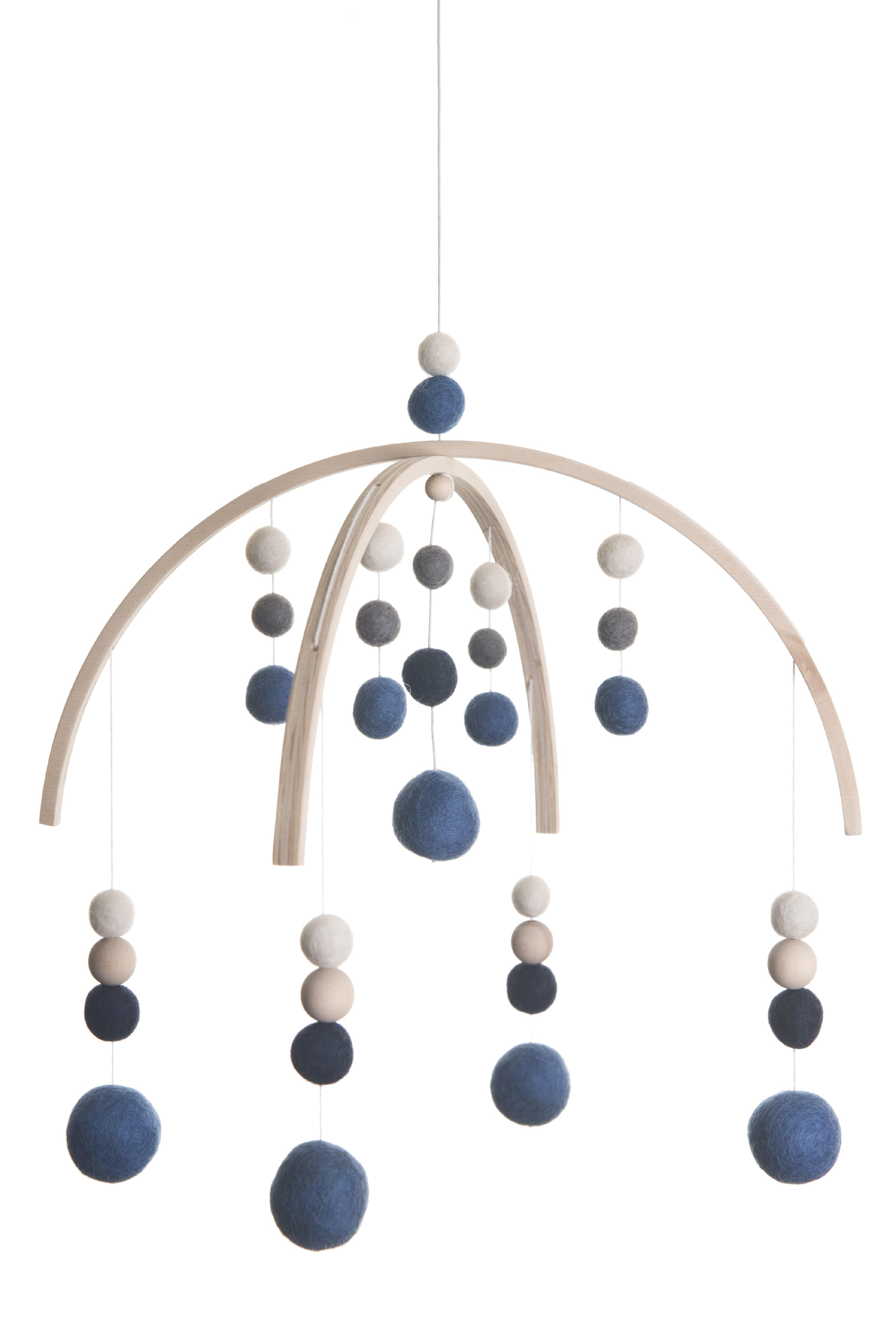 Kolotoč nad postýlku s kuličkami modrá