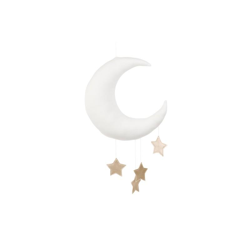 Měsíc k zavěšení bílá Barva hvězdiček: Stříbrná