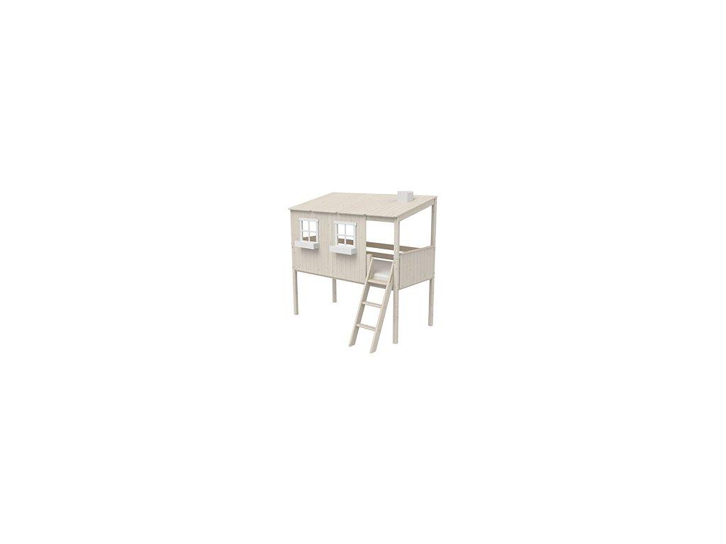 Flexa Postel domeček Classic s žebříkem bílá