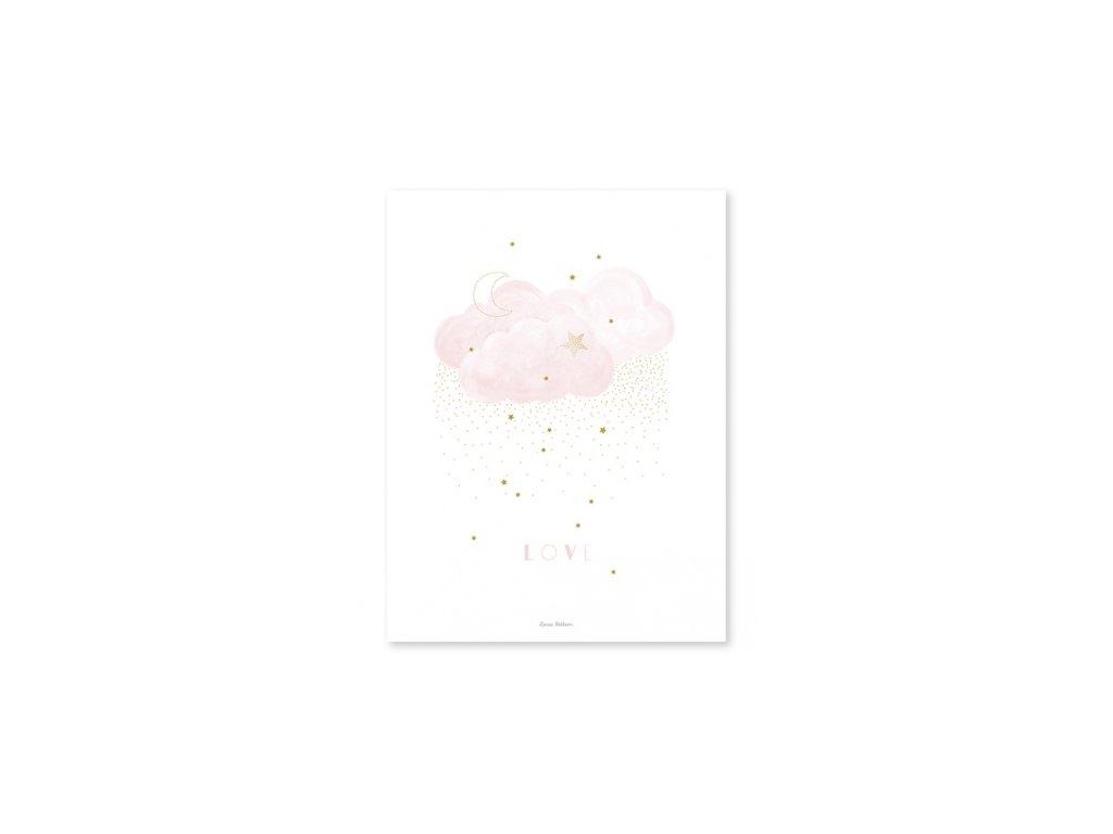 affiche bebe rose nuage p0285