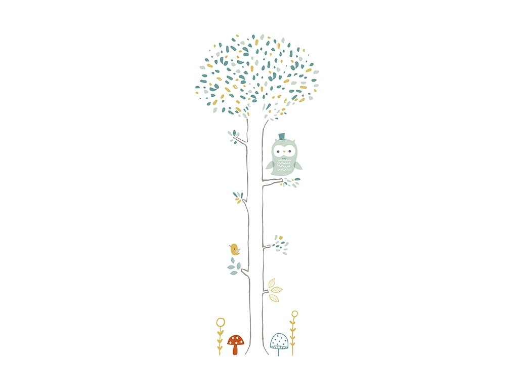 Lilipinso Samolepka na zeď Tree forest owl and mushrooms 47 x 122 cm